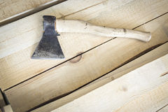 Carpenter's ax with wood handle Royalty Free Stock Photo