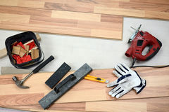 Carpenter's floor equipment Royalty Free Stock Photo
