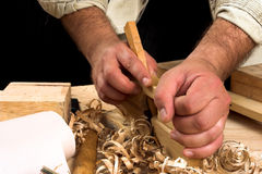 Carpenter's hands Stock Image