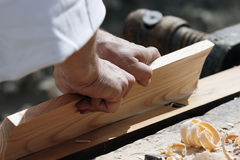Carpenter's hands. Close-up of carpenter's hands at work Royalty Free Stock Photos