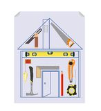 Carpenter`s Tool Kit Project Royalty Free Stock Images
