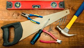 Carpenter's toolkit Stock Image
