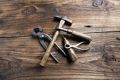 Carpenter's tools. On a old wooden table Stock Image
