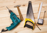 Carpenter's tools on pine desks Royalty Free Stock Photography