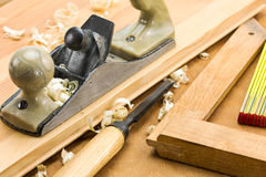 Carpenter's tools on a workbench Stock Images