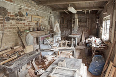 Carpenter's workshop. Old traditional carpenter's workshop with its wealth of tools and wood Royalty Free Stock Images