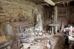 Carpenter's workshop. Old traditional carpenter's workshop with its wealth of tools and wood Stock Photo