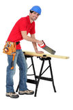 Carpenter sawing. A piece of wood Royalty Free Stock Photo