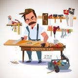 Carpenter sawing wood board at the workshop. set of tools. chara Stock Image