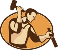 Carpenter Sculptor With Hammer Chisel Retro. Illustration of a carpenter sculptor worker with hammer and chisel viewed from the side set inside oval done in Stock Image