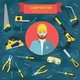 Carpenter service vector concept design. Woodworker banner backg vector illustration