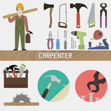 Carpenter. Set in a flat style royalty free illustration