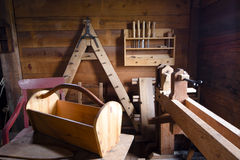 Carpenter Shop with products and tools Stock Images