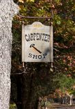 Carpenter Shop Sign. A carpenter shop sign at the carpenter shop in Allaire Village, New Jersey. Allaire village was a bog iron industry town in New Jersey Stock Photo