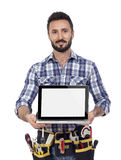 Carpenter showing laptop Royalty Free Stock Photo