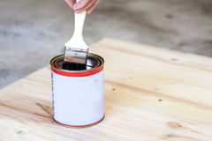 Carpenter is soaking his brush into the can of paint. Royalty Free Stock Images