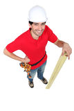Carpenter stood with timber Royalty Free Stock Photography