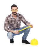 Carpenter with tape measure Royalty Free Stock Photo