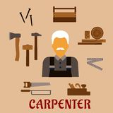 Carpenter with timber and professional tools Royalty Free Stock Image