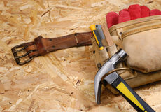Carpenter tool-belt Royalty Free Stock Image
