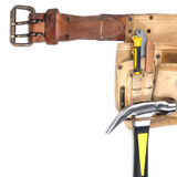 Carpenter tool-belt Royalty Free Stock Images
