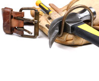 Carpenter tool-belt Stock Photography