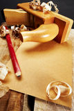 Carpenter Tool. On heavy Wood stock photos