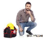 Carpenter with toolbox Stock Image