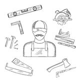 Carpenter and toolbox tools sketches Stock Photography