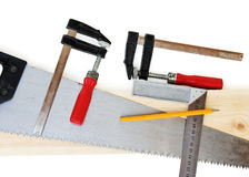 Carpenter tools. Some carpenter tools isolated on white Stock Photo