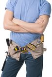 Carpenter with tools. Carpenter with a tools belt, isolated on white Stock Images