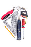 Carpenter Tools arranged in a triangle Royalty Free Stock Photography