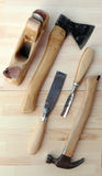 Carpenter Tools Axe, Hammer and Chisels. For Woodworking Stock Photos