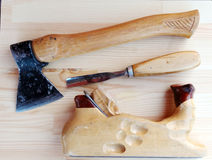 Carpenter Tools Axe, Plane and Chisel royalty free stock photography