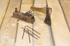 Carpenter Tools Axe Plane and Chisel. For Woodworking Royalty Free Stock Photos