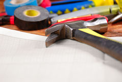 Carpenter tools background Royalty Free Stock Photo