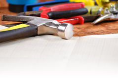 Carpenter tools background Royalty Free Stock Photography