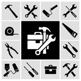 Carpenter tools  black icons set. A collection of black house maintenance or renovation working tools isolated icons set of hammer wrench screwdriver and Royalty Free Stock Photo