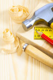 Carpenter tools on boards Stock Photos