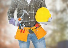 Carpenter with tools on building site Stock Image