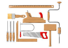 Carpenter tools. Color silhouette vector illustration. Carpenter tools on white background. Color silhouette vector illustration Royalty Free Stock Image