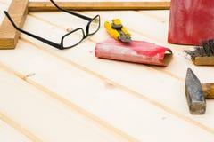 Carpenter tools, diy concept. Table Stock Photos