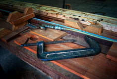 Carpenter tools. In the factory Stock Photography