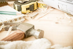 Carpenter tools,hammer,meter royalty free stock images