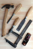 Carpenter Tools Hummer, G-clamp, Plane and Chisels royalty free stock images