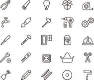 Carpenter & Tools icons. This is a collection of icons related with Carpenter and Tools stock illustration
