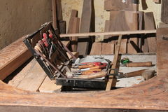 Carpenter tools. Kit with carpentry tools carpentry workshop Royalty Free Stock Photos
