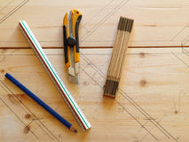 Carpenter tools on pine wood Stock Photos