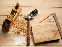 Carpenter tools, plane, hammer,meter, nails, Royalty Free Stock Image
