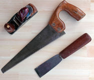 Carpenter Tools Plane, Saw and Chisel stock images